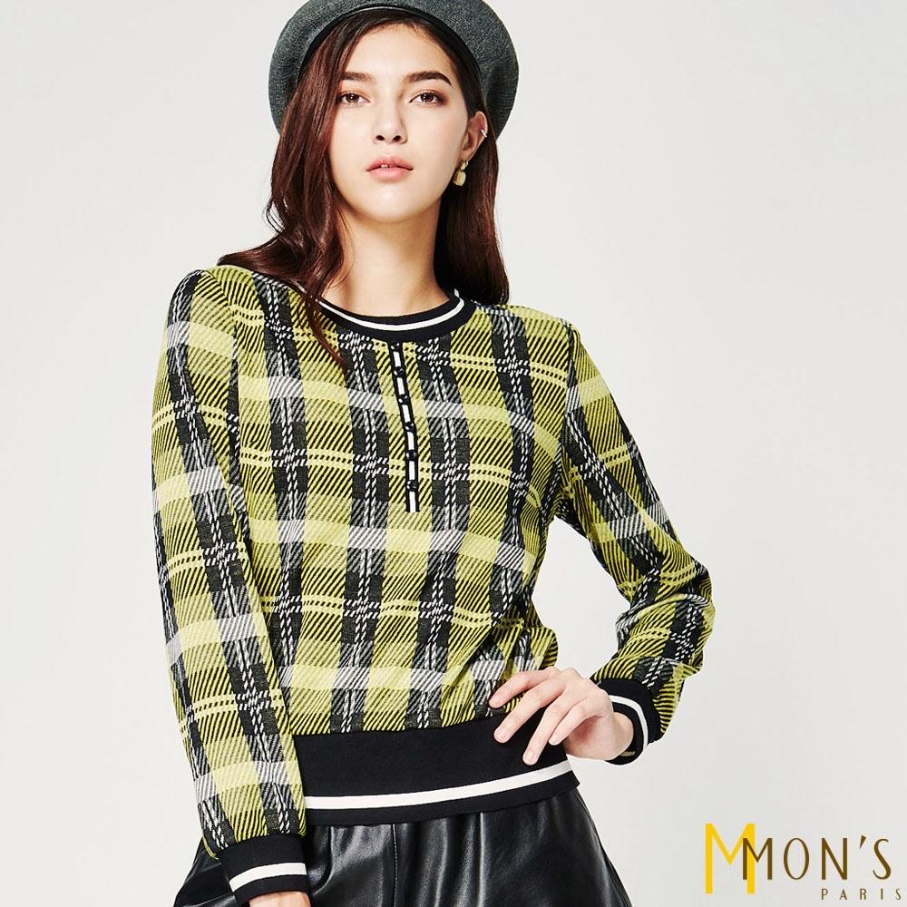 MONS 潮流格紋短版上衣
