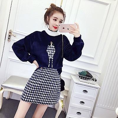 DABI 韓系金絲絨半高領千鳥格半身裙套裝長袖裙裝
