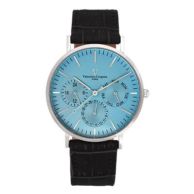 Valentino Coupeau 范倫鐵諾 古柏 超薄三眼時尚腕錶(銀殻/黑帶/藍面)