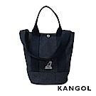 KANGOL 韓版玩色-牛仔手提/斜背釦式小型水桶包-深藍 AKG1217