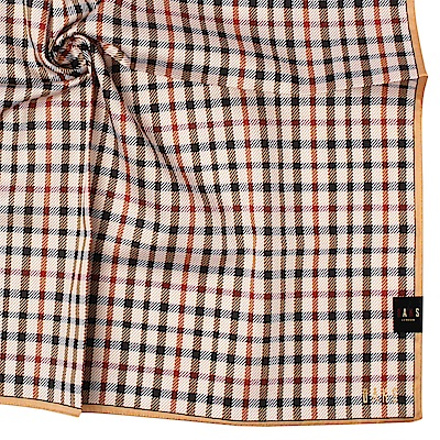 DAKS 經典方格紋純綿帕領巾-卡其色
