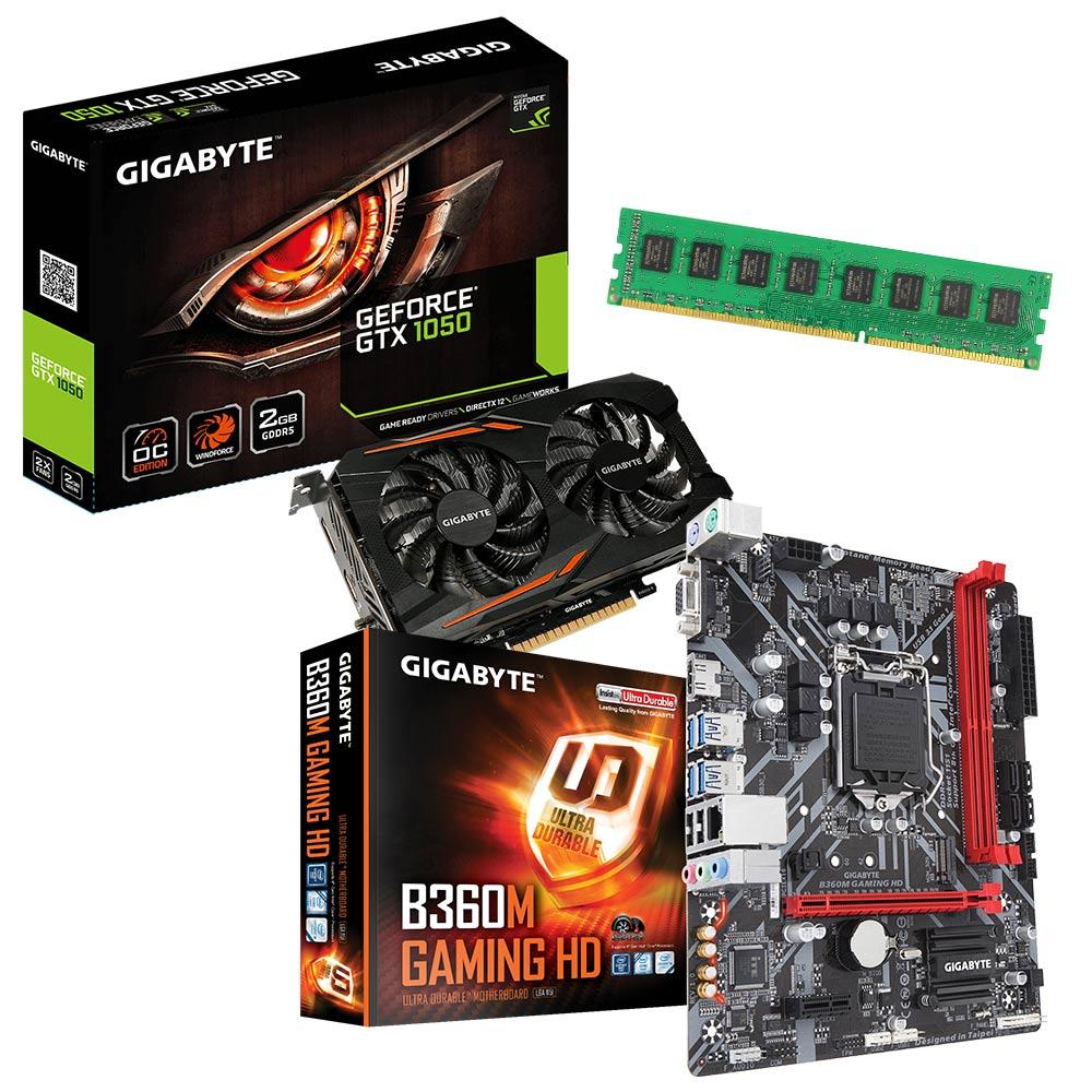 技嘉B360M-GAMING HD+技嘉GTX1050 OC+8GB記憶體 超值組
