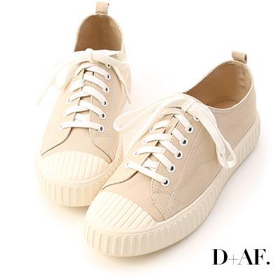 D+AF 玩色趣味.多色帆布休閒餅乾鞋*杏