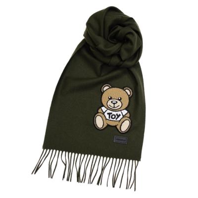 MOSCHINO 經典編織TOY泰迪熊100%羊毛流蘇圍巾/披肩 墨綠色