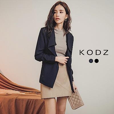 東京著衣-KODZ 簡約帥氣翻領西裝版罩衫外套-S.M.L(共二色)