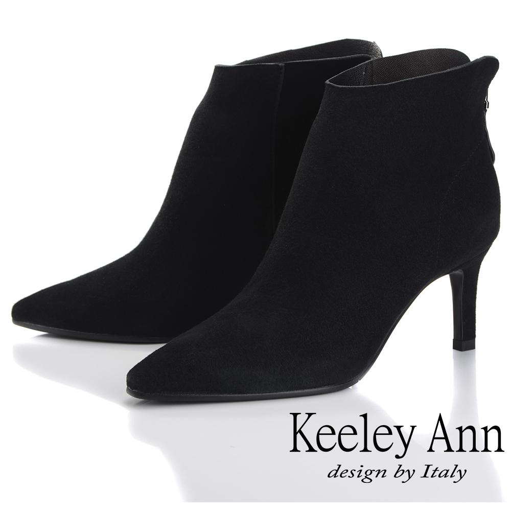 Keeley Ann 簡約百搭~百搭素面羊反絨皮尖頭中跟短靴(黑色-Ann)