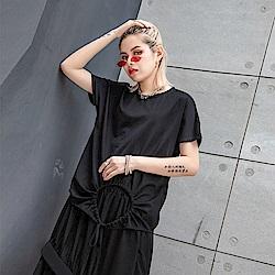 寬鬆顯瘦不規則綁帶T恤-F(共兩色)-CLORI