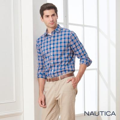 Nautica經典格紋長袖襯衫-深藍
