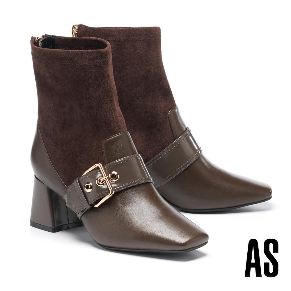 短靴 AS 復古時髦異材質拼接金屬大釦羊皮方頭高跟短靴-咖
