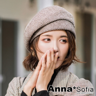 【2件69折】AnnaSofia 毛料小千鳥格 保暖畫家帽貝蕾帽(褐咖系)