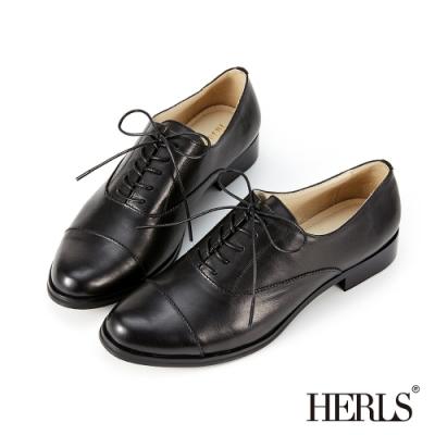 HERLS牛津鞋-義大利進口牛皮經典紳士鞋牛津鞋-黑色