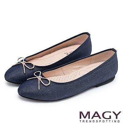 MAGY 清新甜美女孩 水鑽五金蝴蝶結牛仔布面平底鞋-藍色