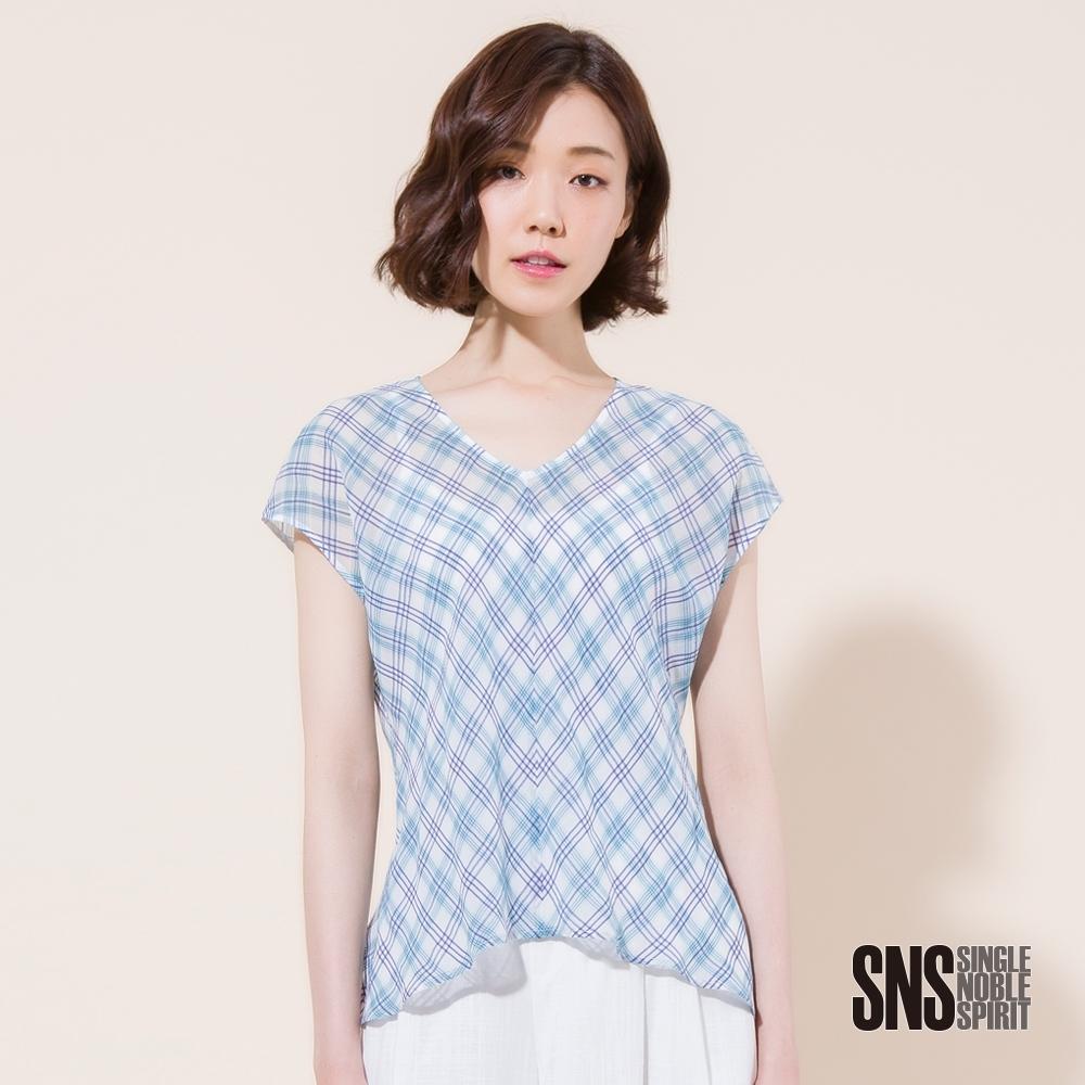 SNS 清新感格紋落肩短袖上衣(2色)