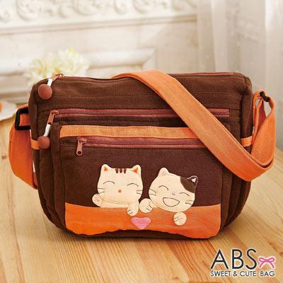 ABS貝斯貓 微笑貓咪搭小愛心拼布 斜側背包(咖啡)88-190