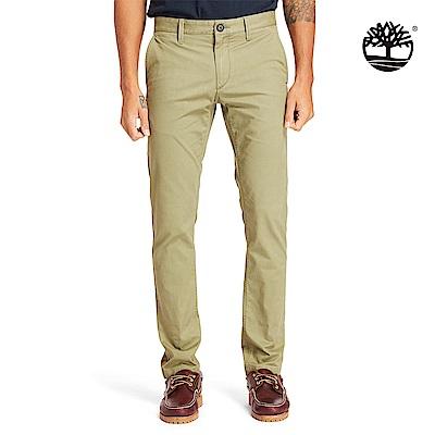 Timberland 男款茶綠棕修身彈力斜紋布長褲 A1VTY