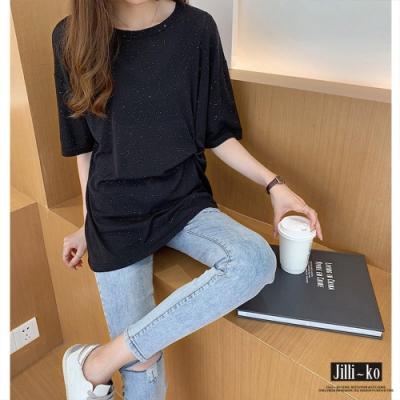 JILLI-KO 側打摺亮絲寬鬆T恤- 綠/黑
