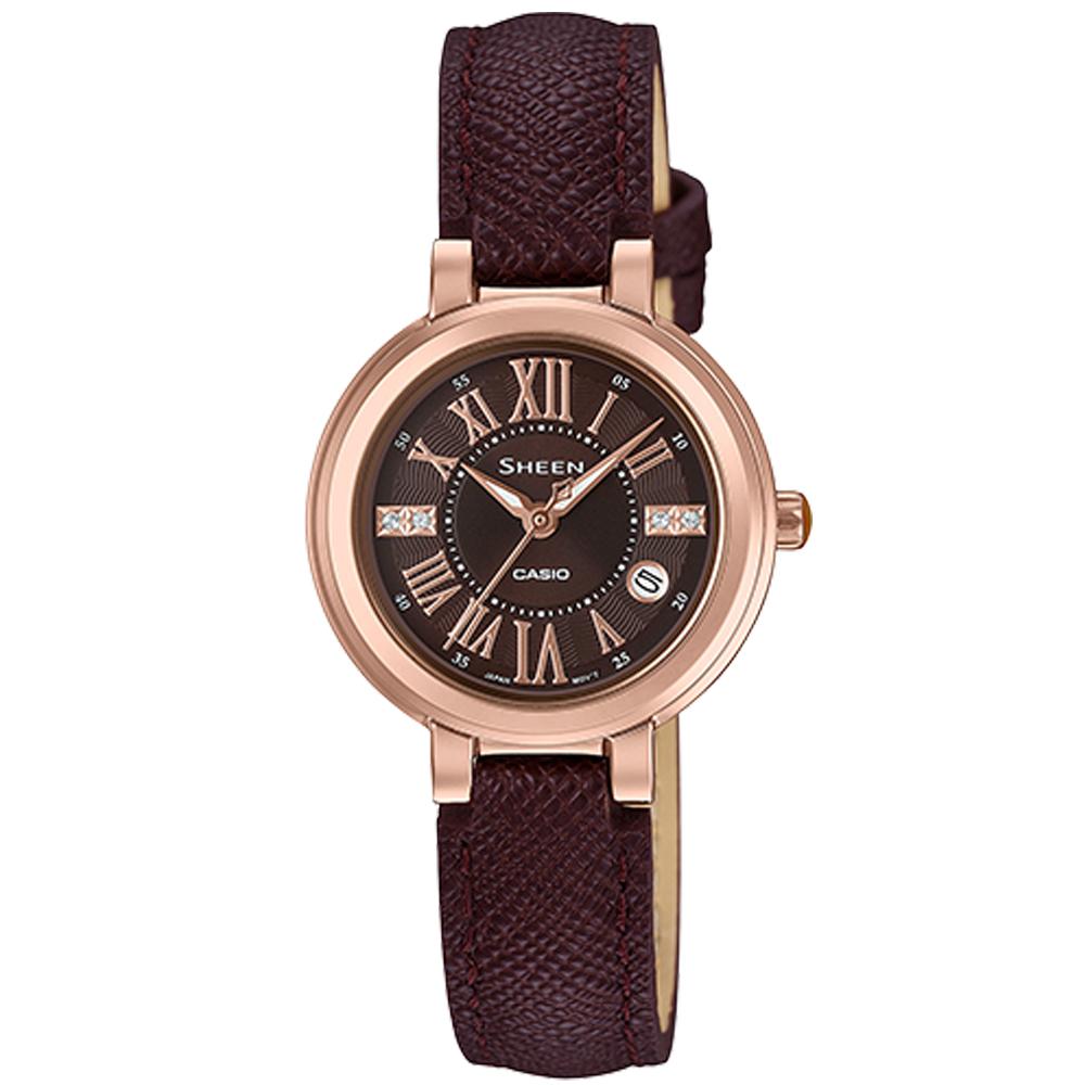 CASIO SHEEN 優雅羅馬 時尚腕錶(SHE-4029PGL-5A)26.5mm