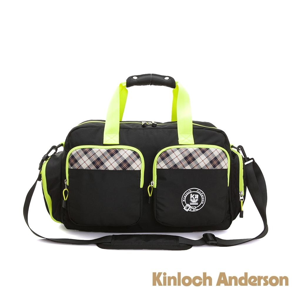 【金安德森】跳躍時空  機能雙口袋手提旅行袋(中款)-時尚黑