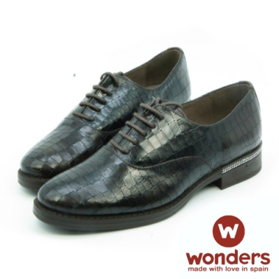WONDERS-率性都會真皮壓紋綁帶休閒鞋-深咖