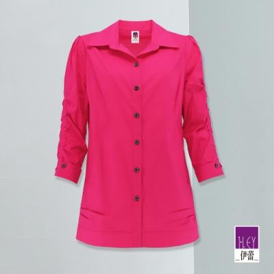 ILEY伊蕾 時髦亮麗感彈性抽皺袖型襯衫(桃/紫)