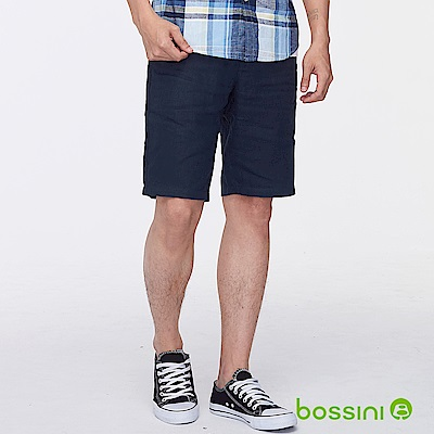 bossini男裝-棉麻時尚短褲01暗藍色