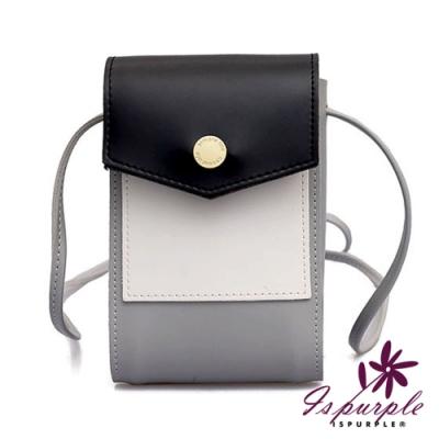 iSPurple 撞色信封 卡片手機零錢側背包 灰