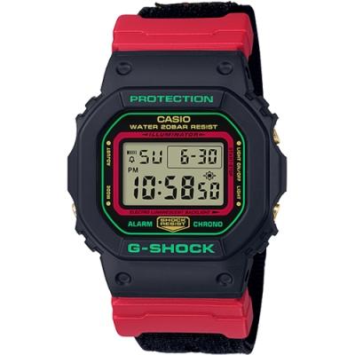 CASIO 卡西歐G-SHOCK 紅綠雙色翻玩經典復古錶款(DW-5600THC-1)