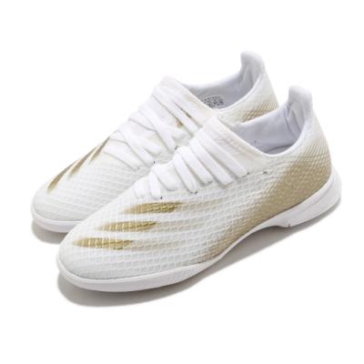 adidas 足球鞋 X Ghosted.3 IN 襪套式 童鞋 愛迪達 室內場地 橡膠平底 無釘 中童 白 金 EG8225