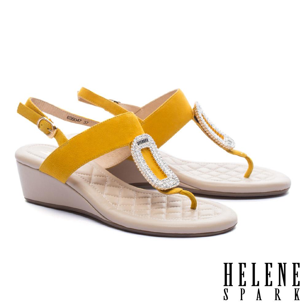 涼鞋 HELENE SPARK 璀璨晶鑽方飾釦羊麂皮T字楔型高跟涼鞋-黃