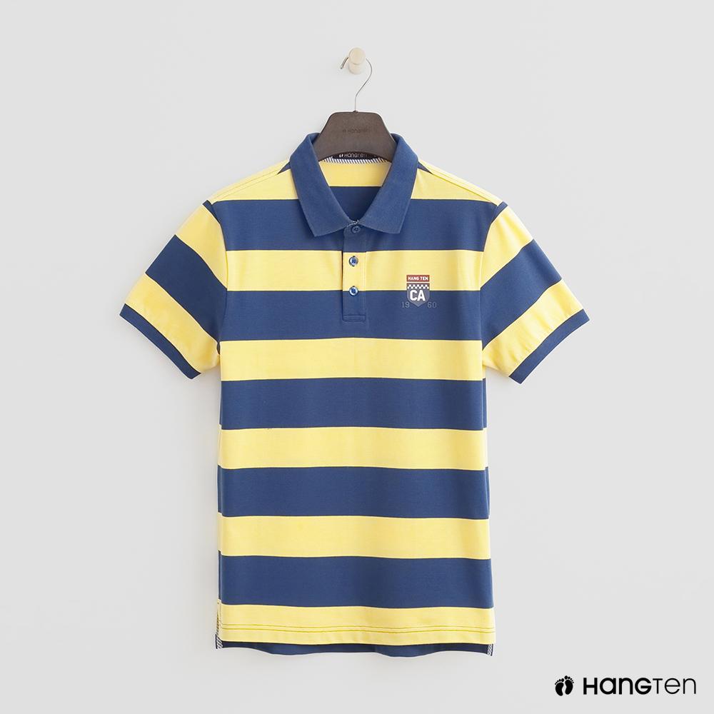 Hang Ten - 男裝 - 撞色滾邊POLO衫 - 藍黃