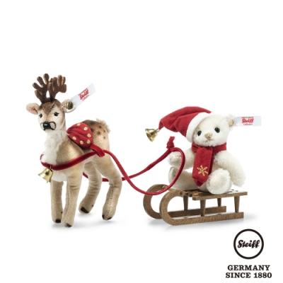 STEIFF德國金耳釦泰迪熊   Teddy Bear with Reindeer Sleigh  泰迪熊與馴鹿 (限量版)