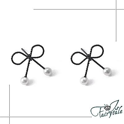 iSFairytale伊飾童話 黑線蝴蝶結 鏤空珍珠結耳環