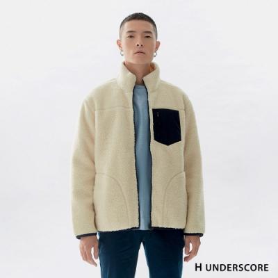 H UNDERSCORE 全新潮牌 男女裝 - 中性款車線剪裁厚款羊羔毛外套 - 白色