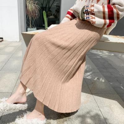 La Belleza素色鬆緊腰坑條百摺裙包心紗針織長裙大擺裙