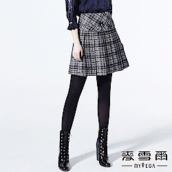 【麥雪爾】知性金蔥千鳥格紋大百褶褲裙