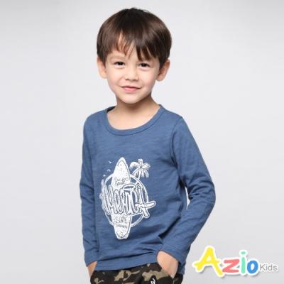 Azio Kids 男童 上衣 衝浪板椰子樹英文印花上衣 (藍)