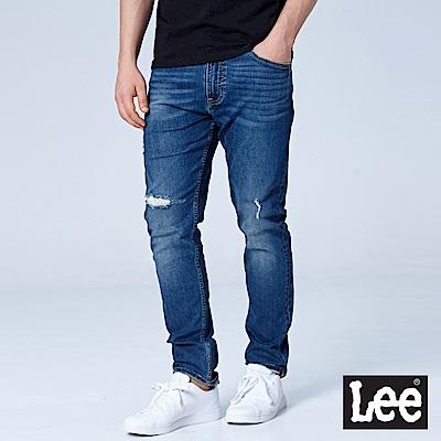 Lee 705中腰標準舒適小直筒牛仔褲/MARVEL-中藍色