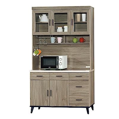 Boden-艾克森4尺仿石面收納餐櫃/碗盤櫃(全組)-121x43x202cm