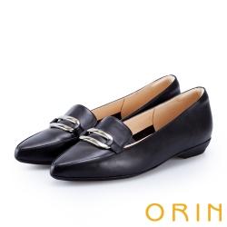ORIN 嚴選牛皮金屬方扣樂福平底鞋 黑色