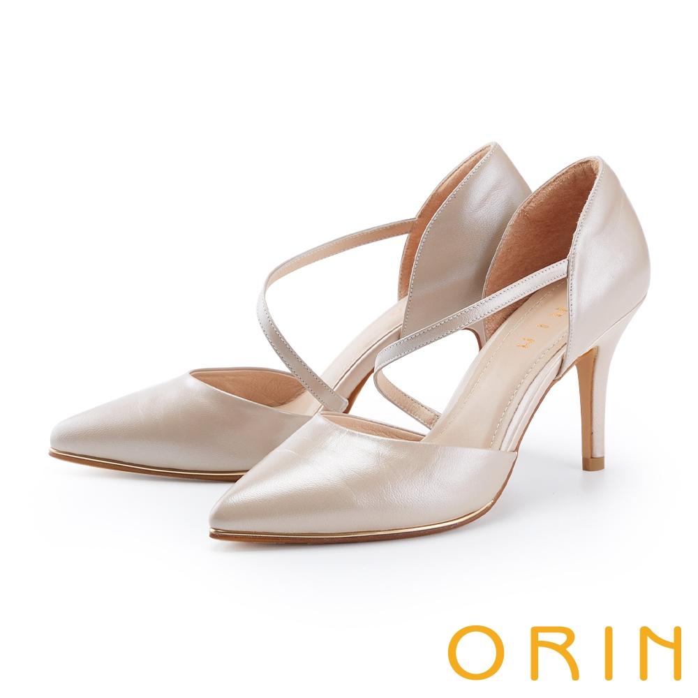 ORIN 斜帶側空後包尖頭花嫁 女 高跟鞋 裸色