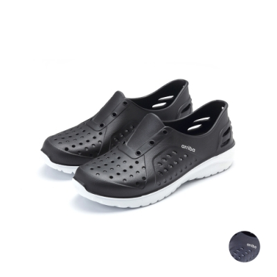ARRIBA艾樂跑男鞋-輕量防水懶人鞋-黑/藍(61505)