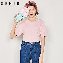 SEMIR森馬-顯瘦V領百搭造型T恤-女