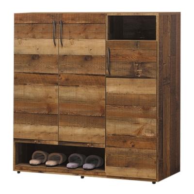 文創集 蒂斯 時尚4尺三門鞋櫃/玄關櫃-120x35x122cm免組