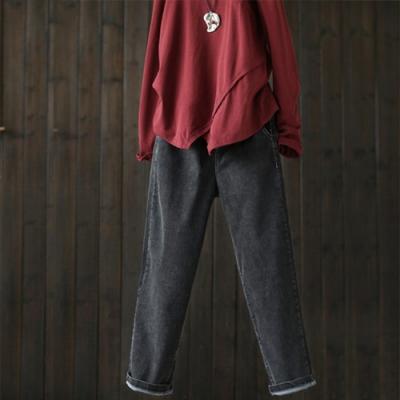 鬆緊腰微彈棉質牛仔褲寬鬆哈倫長褲-設計所在