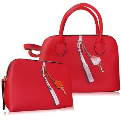 【真品平輸】ESTEE LAUDER 時尚簡約手提包組(化妝包(22X5X15.5cm)+手提包(23.5X9X26含手把))