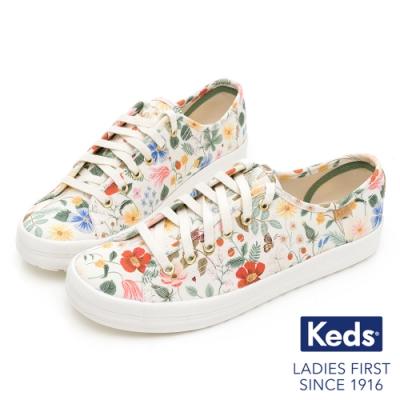 Keds x Rifle Paper 聯名款-KICKSTART 祕密花園帆布鞋-奶油白