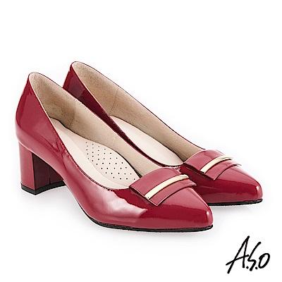 A.S.O 義式簡約 嚴選鏡面簡約飾釦高跟鞋 桃粉紅