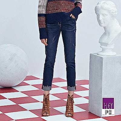 ILEY伊蕾 刷破裝飾反摺牛仔窄管褲(藍)