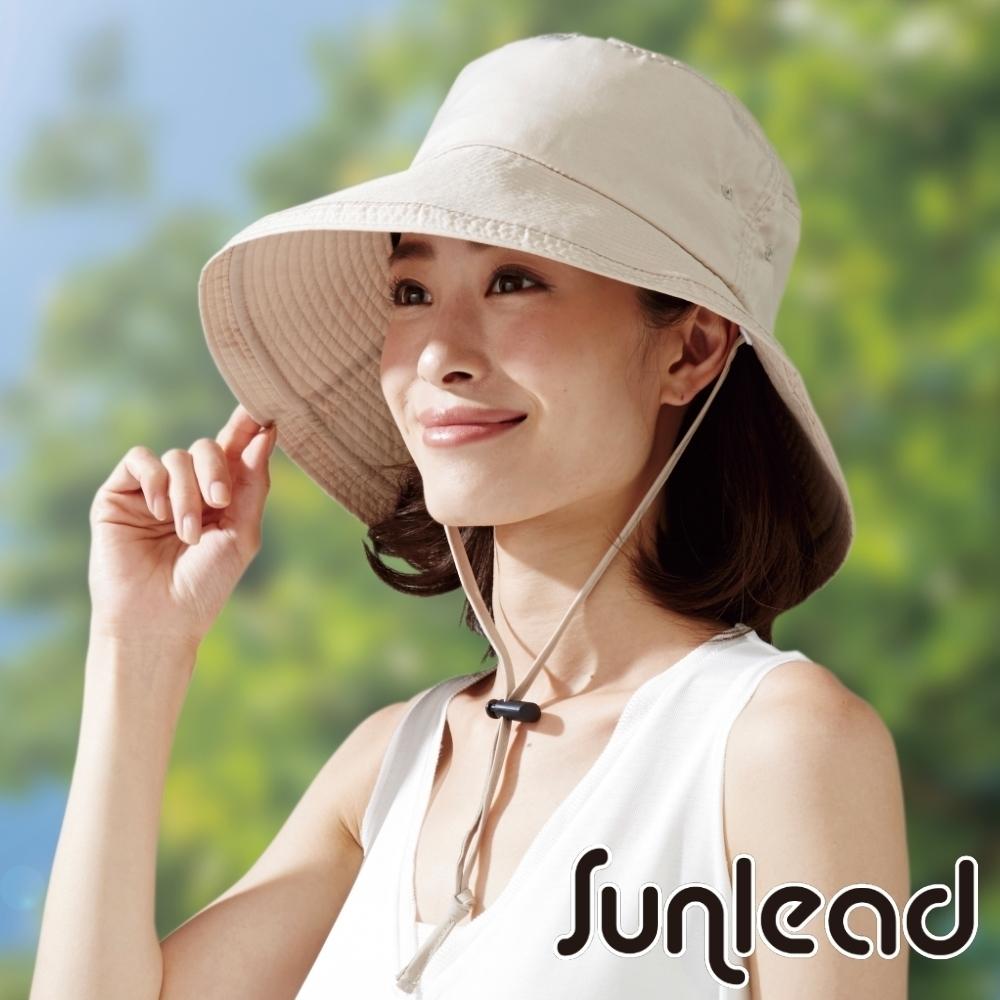 Sunlead 防風吹落。防曬輕量透氣可折邊遮陽帽/登山帽 (奶茶色)