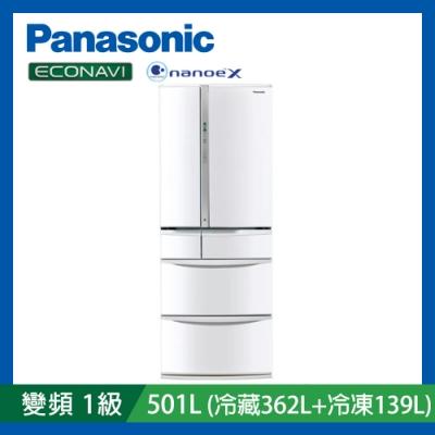 [時時樂限定]Panasonic國際牌日本製501公升1級變頻6門電冰箱NR-F504VT-W1晶鑽白